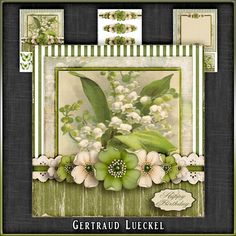 Vintage Birthday Flowers Card Kit 1045 by Gertraud Lueckel Beautiful 7.5 inch topper with decoupage and matching insert. 3 sheets base with sentiment tags decoupage and insert with notecard. Sentiments are Happy Birthday Thank You With Love Birthday Blessings A little Note and one blank