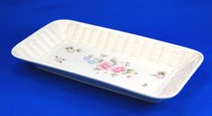 Pfaltzgraff TEA ROSE Bread Basket Tray 12.375 in. Pink Blue Flowers Stoneware. As always your entire order ships for only $4.99, only at http://www.totallytableware.com/