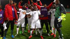 The players of Ghana celebrate after victory over Panama