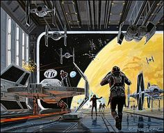 Death Star Hangar by Ralph McQuarrie. A Death Star (officially the DS-1 Orbital Battle Station) is a fictional moon-sized spacestation and superweapon appearing in the Star Wars movies and expanded universe. It is capable of destroying a planet with a single destructive energy beam.