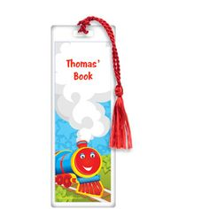 """Tank Engine Personalized Bookmark    Instill a joy of reading with our Tank Engine Personalized Bookmark! Each 2.125"""" x 6"""" laminated bookmark comes with a 4.5"""" tassel in a coordinating color. Custom train bookmarks can be used to personalize your party favors, as a special gift for your child, and make fun classroom gifts for young students. Ages 3 and up. Priced individually."""