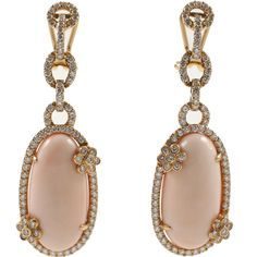 Diamond and Coral Earrings By Jeri Cohen  - Italy   c.21st. Century
