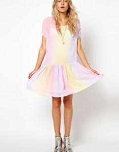 ASOS Smock Dress In Rainbow Tie Dye Print, £42.00