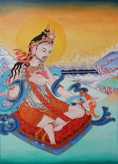 """""""Tilopa"""" - acrylic on paper, 70 x 50 cm  The painting shows Tilopa, an Indian Buddhist master and spiritual father of Kagyu lineage of Tibetan Buddhism, painted in thangka style (Himalayan/Tibetan art).   tags: #dharma #thangka #tilopa #vajrayana #tibetan #buddhism #kagyu"""