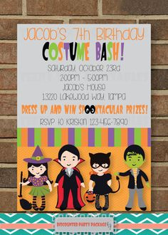 Halloween Costume Party Birthday Party PACKAGE for boy or girl - Invitation, Thank You Card, Cupcake Toppers - stripes dress up