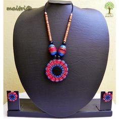 Terracotta Jewellery -   Red Black Blue Flower