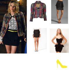 Pretty Little Liars fashion: Hanna Marin in Zara blouse, Zara peplum skirt and plaid jacket.