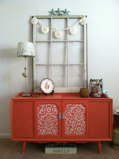 Coral Painted Stereo Cabinet makeover.