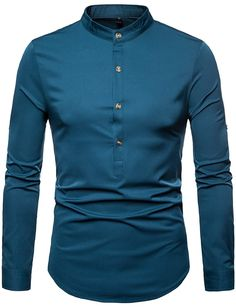 8bddc7c5 ZEROYAA Men's Hipster Henley Neck Slim Fit Long Sleeve Banded Collar Shirt  with Irregular Hem