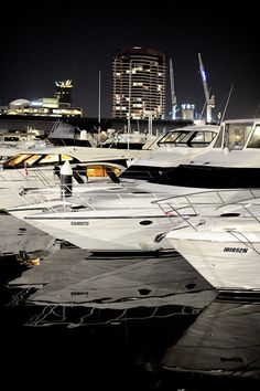 Boats docked at night. Docklands, Melbourne Victoria