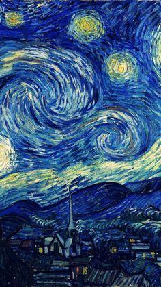 vincent van gogh starry night classic painting art illust iphone6 wallpaper