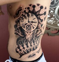 Pocket watch with rose thigh tattoo - 100 Awesome Watch Tattoo Designs