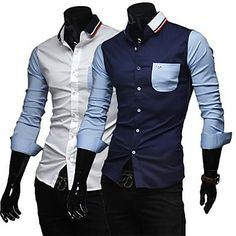 Men's Casual Contrast Color Long Sleeved Shirt