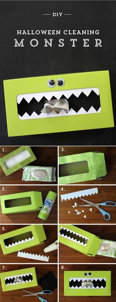 DIY Halloween Hand-Cleaning Monster! Make it fun for kid's to clean up after decorating pumpkins or trick and treating!
