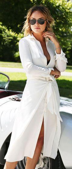 Women's fashion   Chic white shirt dress with aviator sunglasses