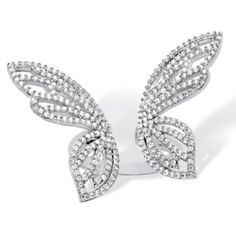 SETA JEWELRY 1.38 TCW Pave Cubic Zirconia Adjustable Butterfly Cocktail Ring in Platinum over Sterling Silver at Seta Jewelry