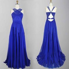 Long Royal Blue Summer Beach Prom Dresses Party Evening Gown