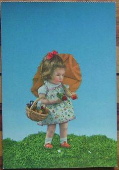 Adorable Kathe Kruse Doll w Parasol Basket of Treats Käthe Postcard | eBay