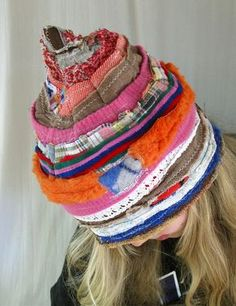 Karna Erickson - love her hats! upcycled wool and scraps. Sweater Hat, Old Sweater, Knitted Hats, Crochet Hats, Recycled Sweaters, Cycling Outfit, Unique Outfits, Hat Making, Diy Clothing