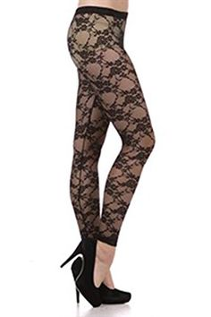 b9cd19a1ea Bubble B Womens Juniors Full Length Floral Lace Leggings Black Large   Be  sure to check out this awesome product. Women Fashion