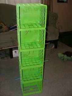 How to Make a Clothes Organizer (Super Easy!) plastic crates zip tied together and hung in closet to store folded clothes - sturdier than the fabric ones Diy Rangement, Ideas Para Organizar, Milk Crates, Kid Closet, Closet Rod, Shoe Closet, Closet Space, Closet Ideas, Storage Organization