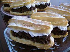 Ekleri dvobojni kremasti kolači - Kuhinja i Recepti Great Desserts, No Bake Desserts, Dessert Recipes, Czech Recipes, Ethnic Recipes, Nutella, Sweet Recipes, Cupcake Cakes, Cupcakes