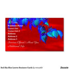 Red Sky Blue Leaves Business Cards