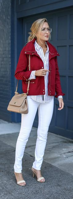 red parka, striped button down shirt, white skinny jeans, nude ankle strap sandals, nude satchel handbag + wire aviator glasses {abercrombie & fitch, dolce&gabbana} {casual friday office style}