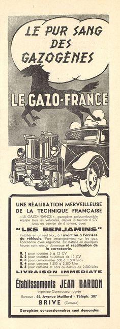 """publicités """"Gazogène"""", Notre Province 1943 - Bfm Limoges"""