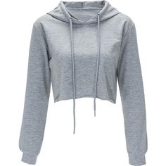 Gray Solid Color Drawstring Hooded Crop Sweatshirt (€11) ❤ liked on Polyvore featuring tops, hoodies, sweatshirts, shirts, sweaters, crop tops, grey, gray long sleeve shirt, long sleeve shirts and long sleeve hoodie shirt