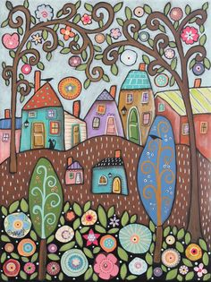 Blossoms 12x16 ORIGINAL CANVAS PAINTING houses cat birds FOLK ART Karla Gerard #FolkArtAbstractPrimitive