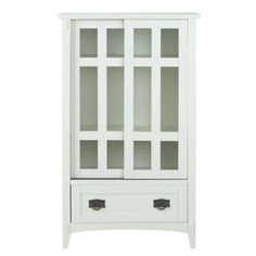 31 in. W Artisan White Multimedia Cabinet with Glass Doors