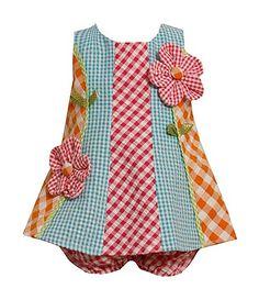 Bonny Baby mixed checks seersucker Dress