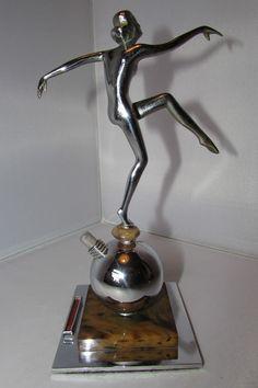 Art Deco Spelter Nude Dancer Figural Chrome Table Lighter by Josef Lorenzl c1920
