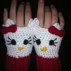 Hello Kitty fingerless gloves  by Lauri Keith