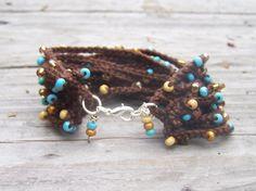 Chocolate Turquoise Crochet Bracelet