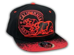 This is a High Quality California Republic Bear Black-Red Flat Bill Snapback Hat from Top Level. It has Embroidered Cali Bear in on the Front! With California Republic in Print! Embroidered California State on the Side! And Cali Embroidered on the Back Flat Bill Hats, Hip Hop Hat, California Republic, Red Flats, Snapback Cap, Baseball Hats, Bear, 3d, Free Shipping