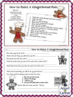 FREE How to make a gingerbread man following directions printable. 5 Days of Freebies from AroundtheKampfire.com