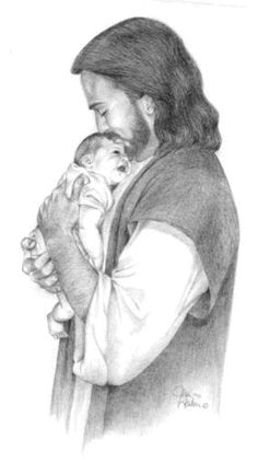 Jesus holding a baby