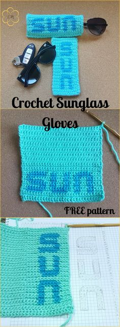 Crochet sunglass glove is a great beginner project for tapestry crochet. It will also make good gifts. Why not whip up some? Try it!