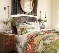 Color Outside the Lines: TUESDAY: Inspiring Spaces by Pottery Barn? Mirror on the shutters. Tropical Bedrooms, Tropical Home Decor, Tropical Interior, Coastal Bedrooms, Tropical Bedding, Coastal Living, Tropical Bathroom Decor, Coastal Style, British Colonial Bedroom