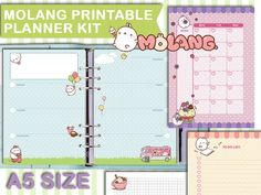 Printable planner a5 molang filofax inserts planner pages