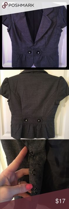 Small women's jacket, has three hook eye closures. Charcoal gray small women's jacket. Great for interview, work, or even happy hour, super cute with jeans and a tank!! Iz Byer Jackets & Coats Blazers