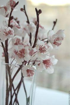 Купить Цветы из шелка Весенняя веточка вишни - белый, розовый, вишневый цвет, цветущая сакура