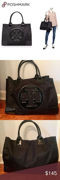 Tory Burch Ella Extra Large Black Nylon Tote Gorgeous and chic but practical Tory Burch Ella Tote. Durable nylon with classy patent leather accents. Great size with space for a school bag, work bag, beach bag, or baby bag! There is a magnetic snap closure and exterior side snaps to make the bag slimmer when not at full capacity. Interior Zip pocket and two wall pockets. Outside in excellent condition, inside good besides small pen marks and coffee stain as seen in picture. Dimensions…