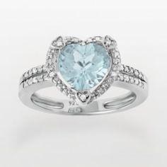 Sterling+Silver+Lab-Created+Aquamarine+&+Diamond+Accent+Heart+Frame+Ring
