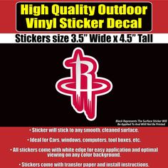 Houston Rockets Basketball NBA Vinyl Car Window Laptop Bumper Sticker Decal