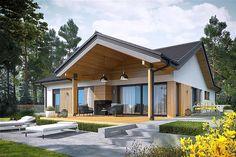 Dom Simon IV - siedem powodów, za które zimą pokochacie go jeszcze bardziej New House Plans, Modern House Plans, Modern House Design, Simple Bungalow House Designs, Modern Bungalow Exterior, Dream House Exterior, Simple House Exterior, Beautiful House Plans, Pergola Designs