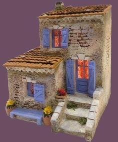 Santons Atelier de Fanny-Santons et Crèches de Noël-Santons de Provence - Maison de village n°5 - 52.00 EUR Clay Houses, Ceramic Houses, Putz Houses, Miniature Houses, Fairy Houses, Miniature Dolls, Paper Houses, Arts And Crafts Projects, Home Crafts