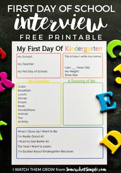 First Day of School + Last Day of School Interview Printables This printable first day of kindergarten interview is a fantastic way to capture your child as they are when they begin school, with lots of fun details to look back on later! 1st Day Of School, Beginning Of School, School Days, First Day Of School Pictures, Back To School Party, Middle School, Kindergarten First Day, Homeschool Kindergarten, First Day Of Kindergarden
